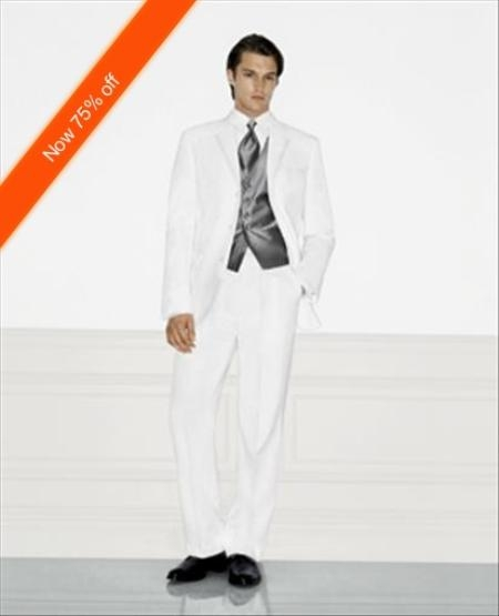 SKU#HV4882 White Mens Wedding Suit, Notched Lapel, 3 Button Style, Ultimate Stylish Suit $109