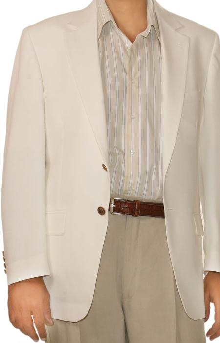 SKU#UM9632 White Spring/Summer Mens Two Button Blazer $155