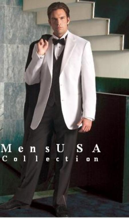 SKU# SAM_Tx_02 White Tuxedo jakcet & white pants + Black Vest + Extra Black Pants (2 Button Style Jacket) $185