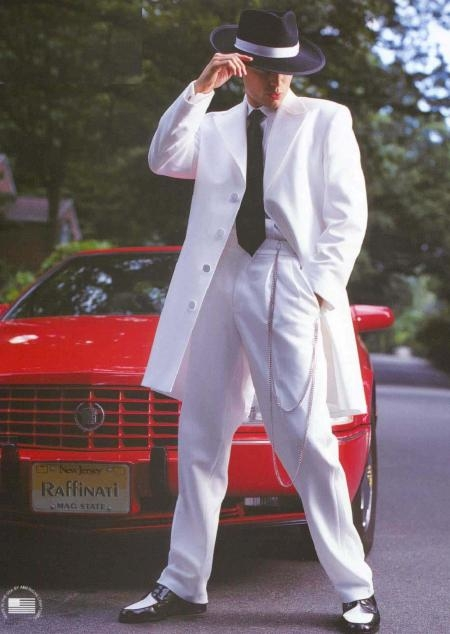 SKU# VDB614 White Tuxedo Men's Zoot Suit
