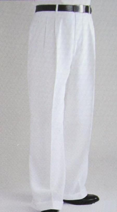 SKU#KM4044 White Wide Leg Dress Pants Pleated baggy dress trousers