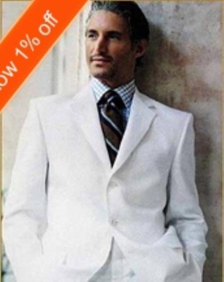 SKU#SF1031 White or Off White Mens Suit in 3 Button Style Wool Blend Perfect For all Year around $68