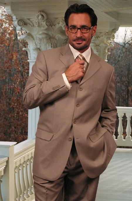 SKU#MW443 Wide Leg Solid Tan Super 150s Wool Feel Touch Suit Hand Made $149
