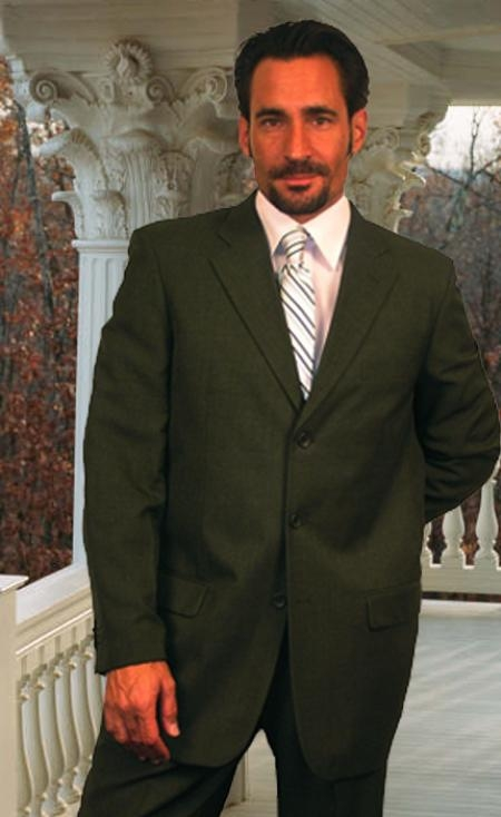 SKU#LA411 Wide Leg Solid Olive Super 150s Wool Feel Touch Suit Hand Made $149