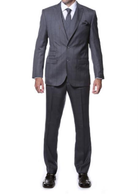 Notch Lapel Side Vent Grey Blue 3 Piece Vested Window Pane Slim Fit Plaid Suit