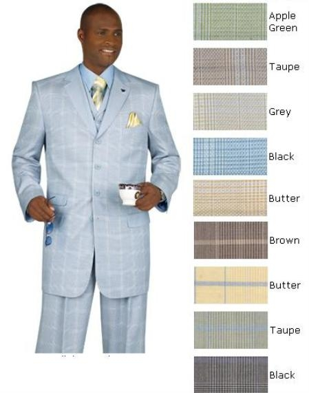 SKU#M2504 Window Pane Plaid Lapled Vested Suit Available in 10 Colors