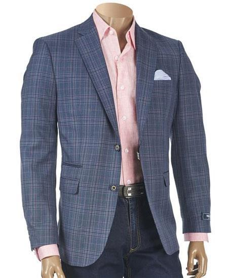 Buy GD1776 Mens Checker ~ Plaid ~ Windowpane Navy Mens Blazer ~ Sportcoat ~ Jacket
