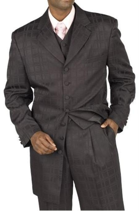 SKU#M6865 Black Windowpane Plaid Patterned Shiny Vested Zoot $139