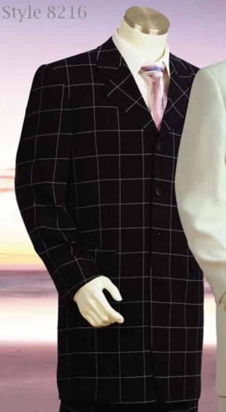 SKU#MU8216 Windowpane Plaid Zoot Suit in Black&White/OFF White&Black/Taupe&Brown $179