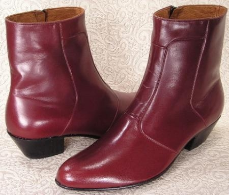 "SKU#2019 Wine~Bergundy plain-toe 1 3/4"" heel boot features a soft calfskin leather upper"