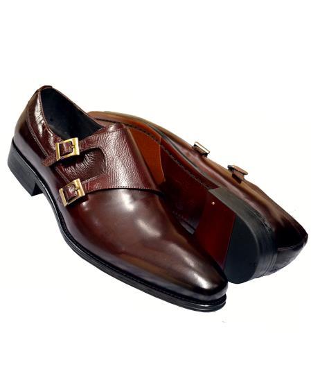Carrucci Men's Genuine Calfskin Leather Wine Burnished Double Monk Strap Shoes- Men's Buckle Dress Shoes