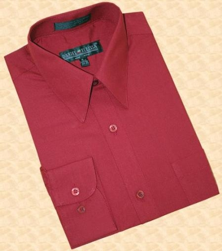 Wine/Burgundy ~ Maroon ~ Wine Color Cotton Blend Convertible Cuffs Mens Dress Shirt
