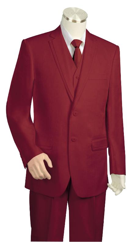 Wine Three Button Suit
