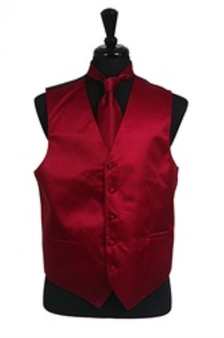 Horizontal Rib Pattern Dress Tuxedo Wedding Vest Tie Set Burgundy ~ Maroon ~ Wine Color