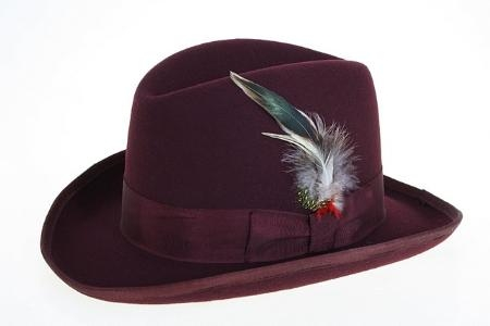 SKU#HK3480 Mens Wool Felt Fedora Burgundy ~ Maroon ~ Wine Color