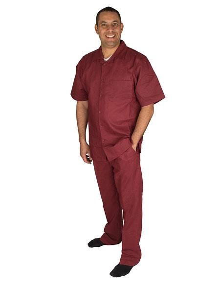 Mens 2 Piece Short Sleeve Casual Two Piece Walking Outfit For Sale Pant Sets Set With Pleated Pants 100% Linen Shirt Wine