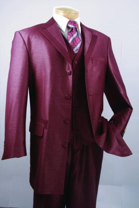 SKU#WY632 Wine Color Super 150s Luxurious Wool Mens Fashion Suit $149