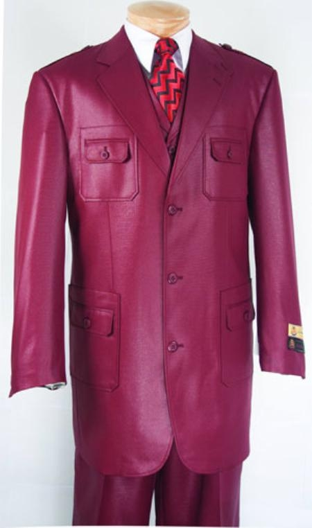 SKU#WS743 Wine Color Super 150s Mens Fashion Suit $149
