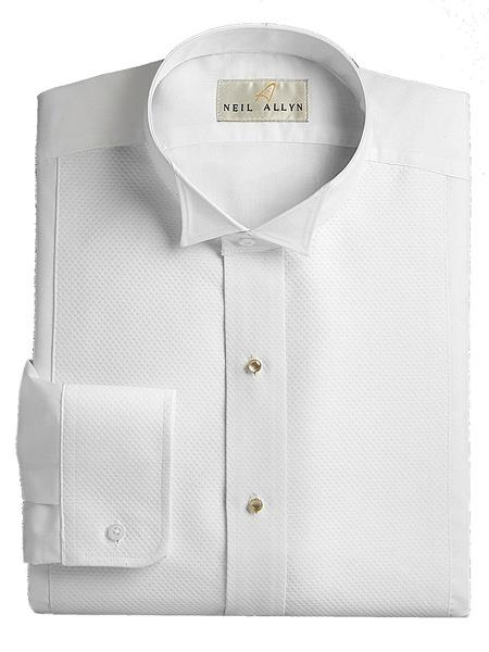 Mens White Wing Tip Collared Pique Front Dress Tuxedo Shirt