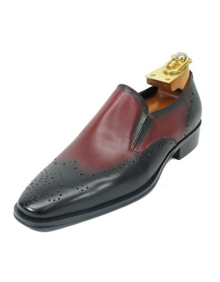 Men's Black / Maroon Dress Shoe ~ Burgundy Dress Shoe ~ Wine Color Dress Shoe Wing Toe Perf Slip On Style Fashionable Carrucci Shoes