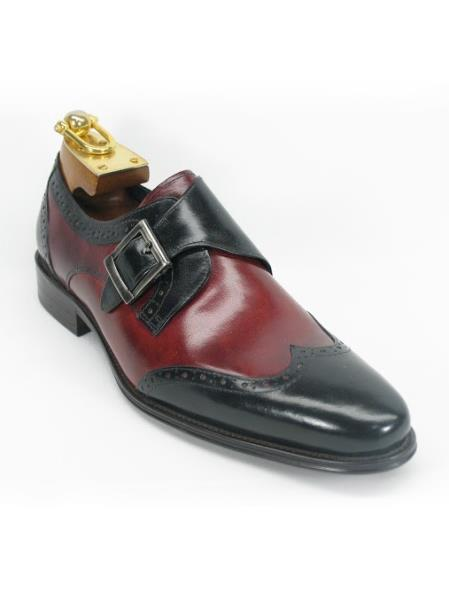 Mens Carrucci Black/Burgundy ~ Wine ~ Maroon Color Monk Strap Wing Toe Style Two Toned Fashion Shoes