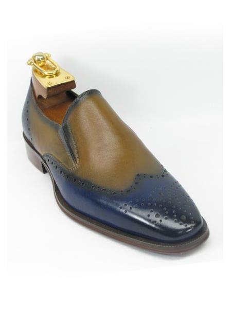 Men's Fashionable Carrucci Perf Slip On Style Wing Toe Blue/Tan Shoes