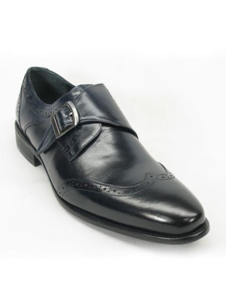 Mens Carrucci Navy Monk Strap Etching Design Wing Toe Style Shoe