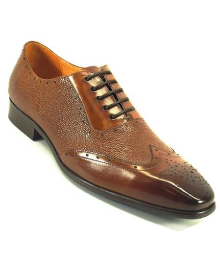 Mens Fashionable Carrucci Genuine Wing Toe Lace Up Leather Whisky / Perf Shoes