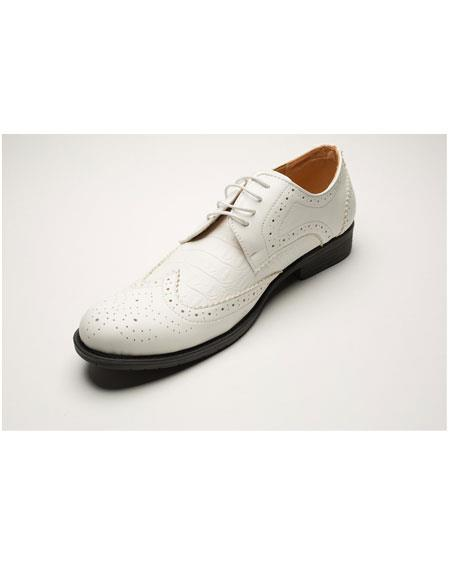 Mens Two Toned Wing Tip Cream Dress Shoes