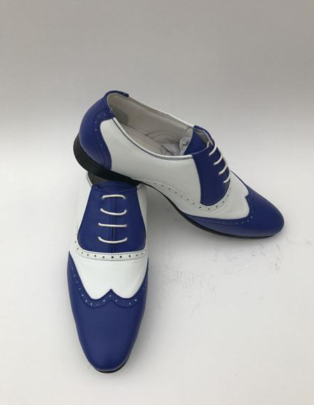 Buy CH1460 Men's 1920 Royal Blue Wingtip Style Indigo ~ White Laceup Two Toned Color Shoes