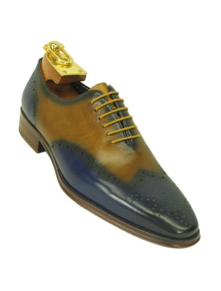 Carrucci Mens Two Toned Wingtip Toe Contrast Leather Oxford Blue/Tan Shoe