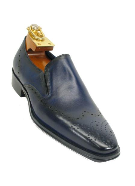 Carrucci Mens Wingtip Toe Two Tone Slip On Style Leather Loafer Navy Shoe