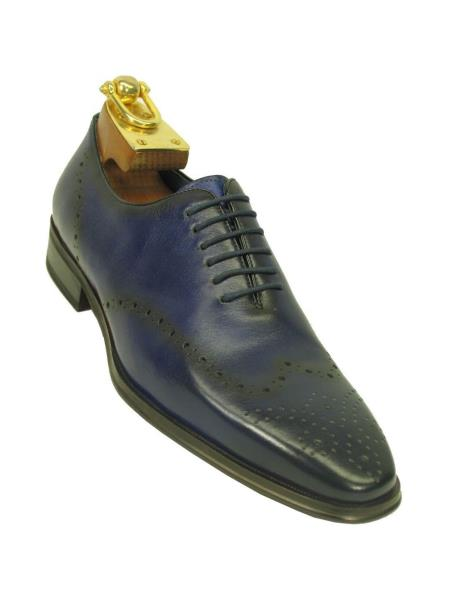 Carrucci Mens Navy Lace Up Style Wingtip Toe Contrast Leather Oxford Shoe