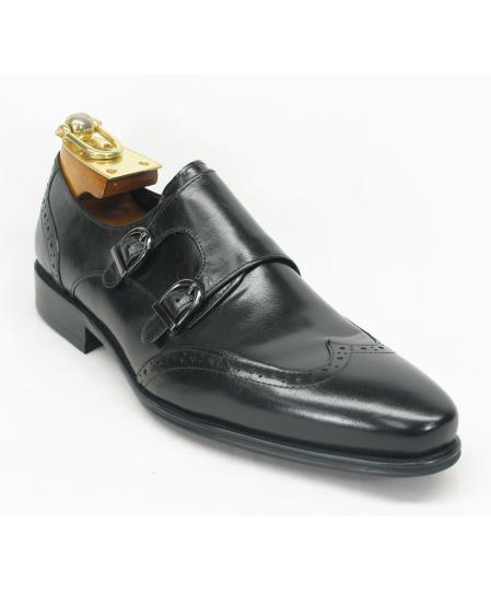 Mens Fashionable Carrucci Wingtoe Black Double Buckle Style Shoes