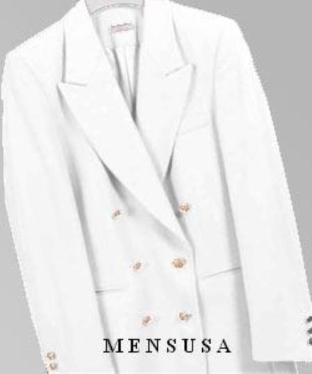 SKU# PFF101 Z762TA White, Six Button Double Breasted Performance Blazer Jacket Coat