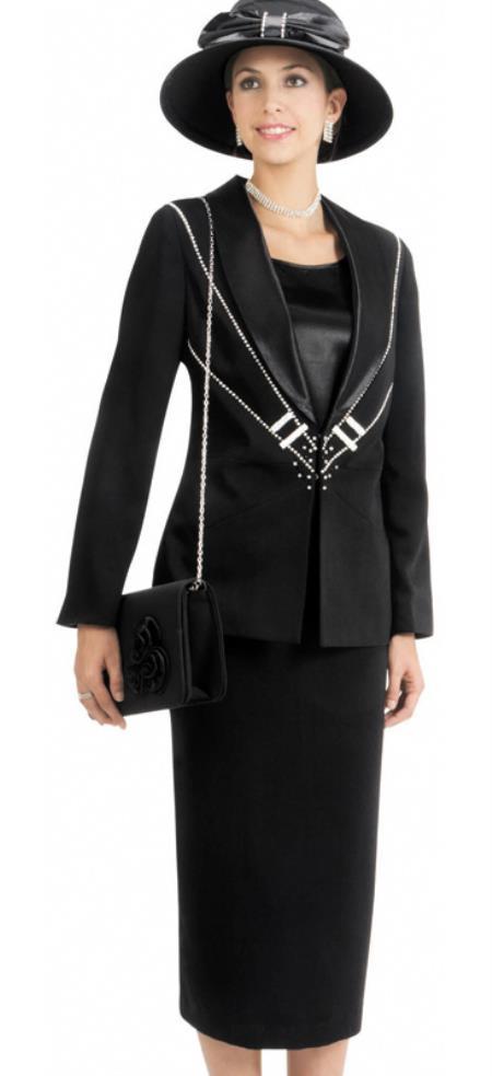 Women 3 Piece Dress Set Black
