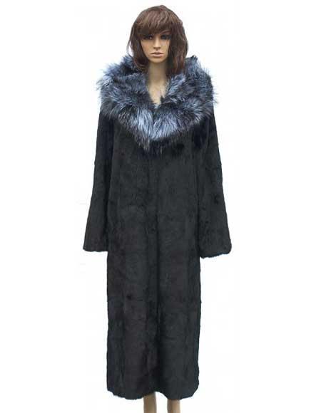 Fur Black Full Skin Mink Full Length Coat With Silver Fox Collar Jacket