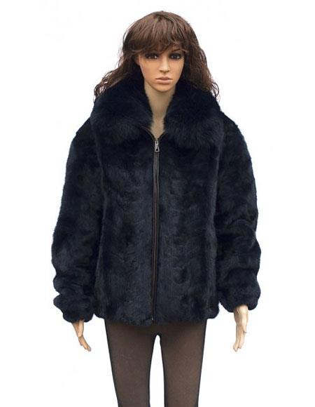 Buy GD844 Fur Blue Mink Front Paws Jacket Fox Collar