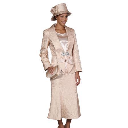 SKU#WO104 Women 3 Piece Dress Set Champagne