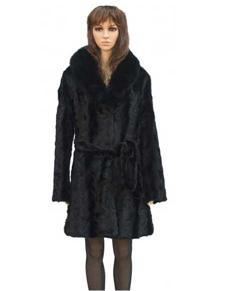 Buy GD780 Fur Black Mink Front Paws 3/4 Coat Fox Collar Belt Jacket