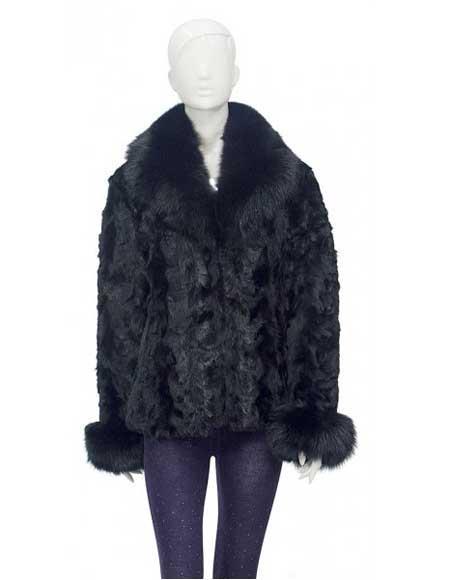Fur Black Genuine Pieces Mink Top With Fox Collar And Fox Cuff Jacket
