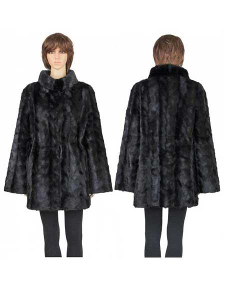 Buy GD781 Fur Black Genuine Mink Paws 3/4 Coat Insulated Interior Jacket