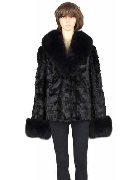 Fur Genuine Mink Black Top With Fox Collar And Cuffs Jacket