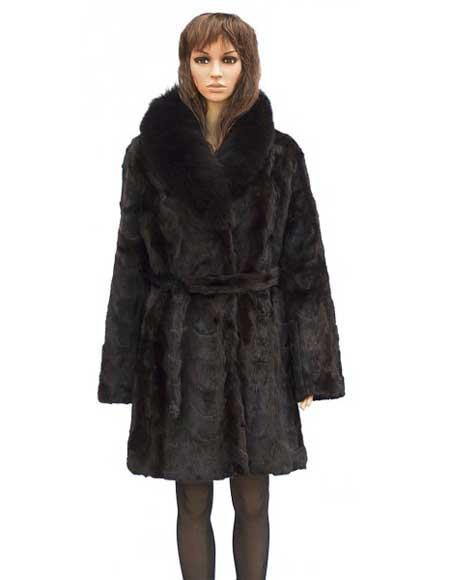 Buy GD787 Fur Genuine Mink Brown Front Paws 3/4 Coat Fox Collar Jacket