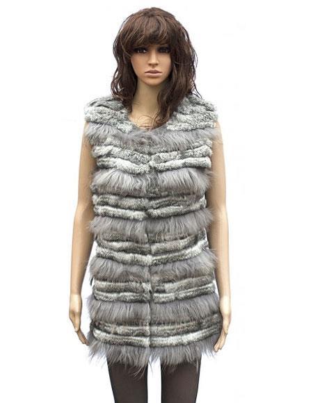 Fur Grey Genuine Rabbit 3/4 Vest