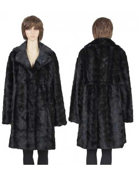 Buy GD782 Fur Handmade Genuine Mink Paws Black 3/4 Insulated Interior Coat