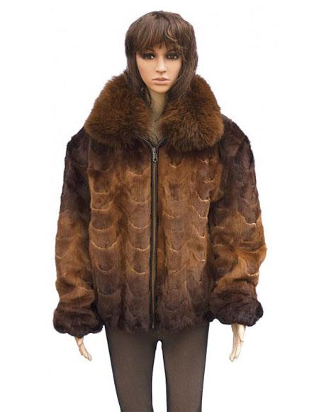 Buy GD836 Fur Genuine Mink Brown Front Paws Fox Collar Pull Zipper Jacket