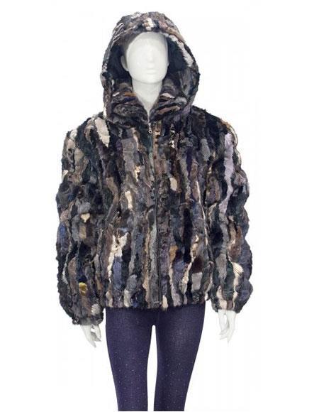 Fur Multi-Color Genuine Pieces Mink Pull Up Zipper Jacket