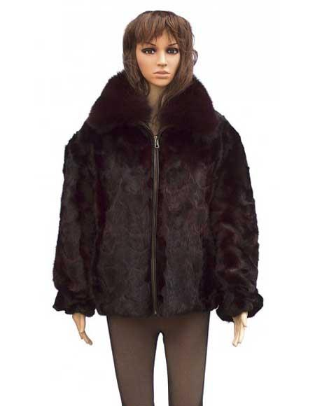 Fur Pull Up Zipper Mink With Fox Collar Two Side Pockets Jacket