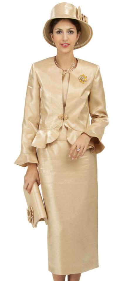 SKU#WO-194 Women Dress Set Gold